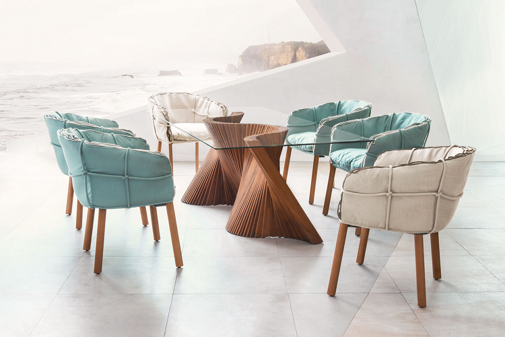 Parchment Dining Chairs + Wave Table at Hoff Miller